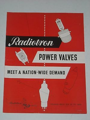 RADIOTRON POWER VALVES Characteristic & Basing Diagrams 1950