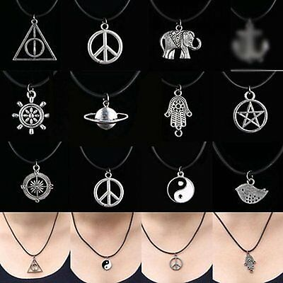 New Women Tibetan Silver Pendant Necklace Choker Charm Black With Leather Cord