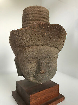 10-12th Century A.D. Khmer Empire Stone SHIVA Head Standstone