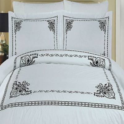 f48f7a0f1f79 Modern Black White Embroidered Medallion Egyptian Cotton Duvet Cover Set  Queen
