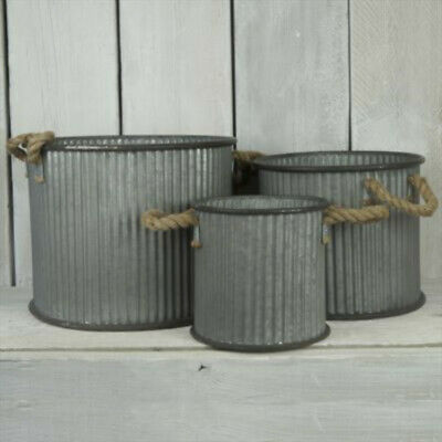 Large Round Decorative Galvanised Metal Planters Tub Plant Flower Pot Garden