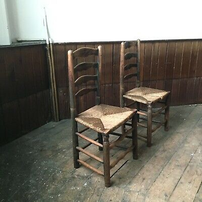 Pair Of Primitive Pendle Ladderback Chairs