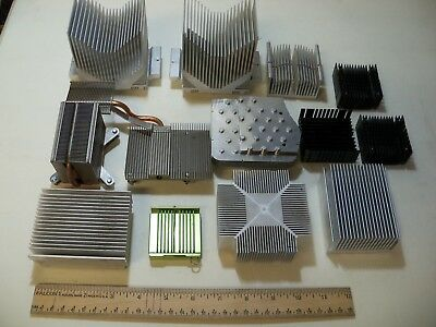 Lot of13 Assorted Aluminum Heat Sinks Scrap Craft Large and Small 7 Lb 4 Oz