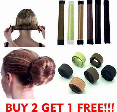 Glamza Women's Magic Hair Bun Snap Styling Donut Former French Twist Band Maker