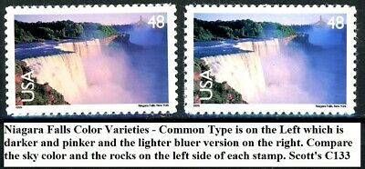 Niagara Falls Color Variety Set of 2 MNH Air Mail Stamps Scott's C133