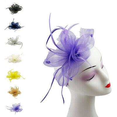 Flower Feather Hat Fascinator Headband Clip Wedding Royal Ascot Race Occasions