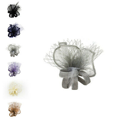 Small Flower Feather Mesh Hair Hat Fascinator Brooch Clip Wedding Royal Ascot