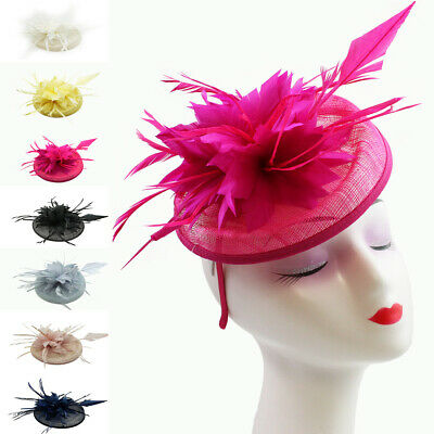 Small Flower Feather Hat Fascinator Headband Clip Wedding Royal Ascot Occasions
