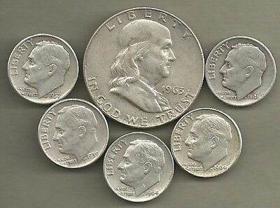 Franklin Half Dollar & Roosevelt Dimes- 90% Silver- US Coin Lot - 6 Coins #4132