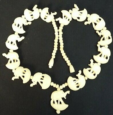 Oriental Bovine Bone Hand Carved Animal Beaded Necklace Pendant Vintage
