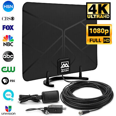 Digital HDTV Antenna Amplified Indoor HD TV 60-Mile 1080p 4K VHF UHF 20' Cable