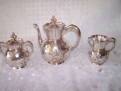 Rogers Smith & Co Meriden CT Quadruple HAMMERED Tea Set. Creamer &Sugar Bowl