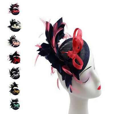 Two Colours Feather Flower Fascinator For Wedding Party Occasions Racing Outdoor