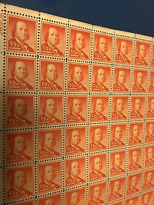 1/2 CENT US STAMP POSTAGE SHEET (100) Scott #1030 BEN FRANKLIN NG NH