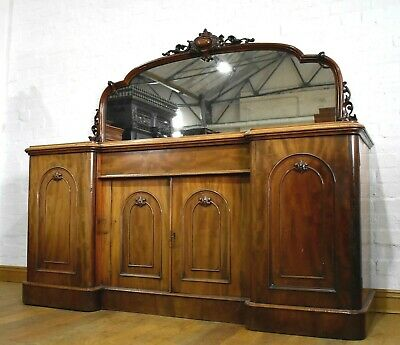 Antique large Victorian carved breakfront chiffonier - mirror back sideboard