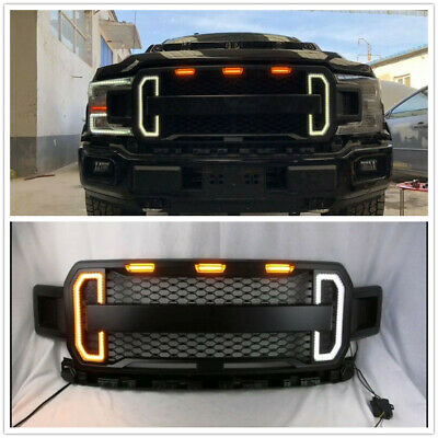 Front Grill Grille Raptor Style For 2018 2019 Ford F150 F 150 W Amber Led Light