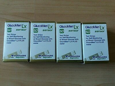 4 Boxes Of Glucomen Lx Sensor Blood Glucose Test Strips 200 In Total New ex09/19