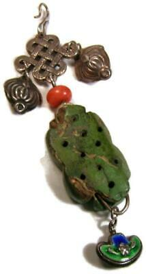 Antique Chinese Pendant with Silver Carved Old Green Turquoise Coral & Enamel