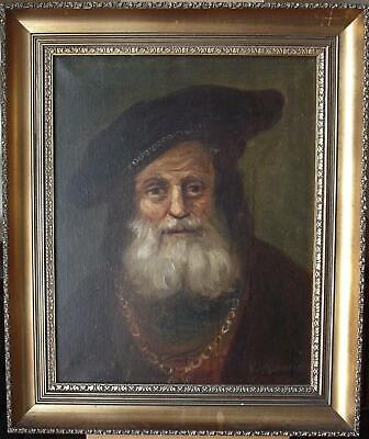 Early 20thC Portrait an Old Merchant Indstnctly Fr. Schurmann Oil Painting c1920