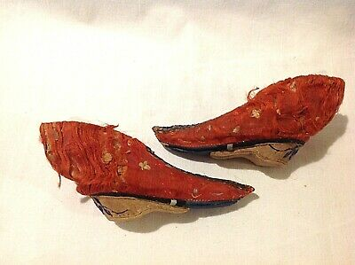 Antique Chinese Bound Foot Feet Lotus Shoes Embroidered Red Silk