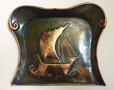 Arts & Crafts repousse copper crumb scoop Newlyn stamp- Ship motif- Good patina