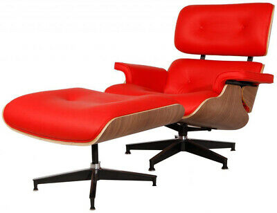 Eames Lounge Chair & Ottoman Reproduction Walnut Red Italian Leather