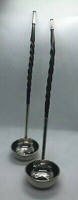 Pair Georgian / Victorian Barley Twist Stem White Metal Toddy Ladle