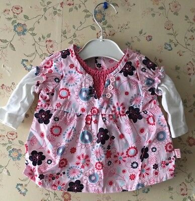 BNWOT Pumpkin Patch Baby Girls Floral Pink Cotton Long-Sleeved Top 0-3 mths