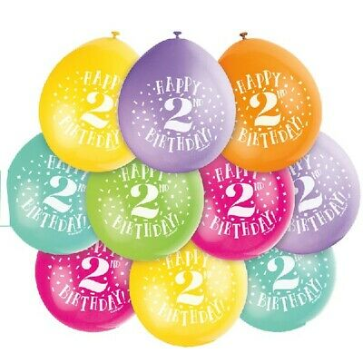"""10 x Happy 2nd Birthday 9"""" Latex Balloons Mixed Air Fill Two Party Decoration"""