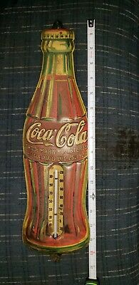 """REAL !! Coca-Cola """"Christmas Bottle"""" Dec.25, 1923 Tin Litho Thermometer amazing"""