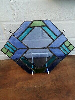 Vintage /antiqie Blue And Green leaded Stained Glass Panel. Sun Catcher