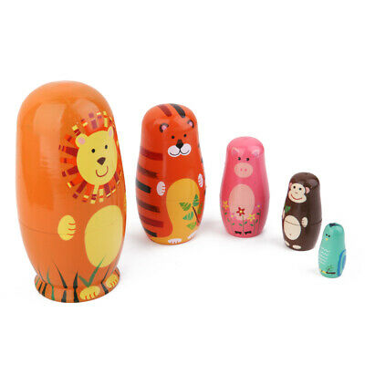 5pcs Wooden Fairy Russian Babushka Matryoshka Nesting Dolls Animal Painted