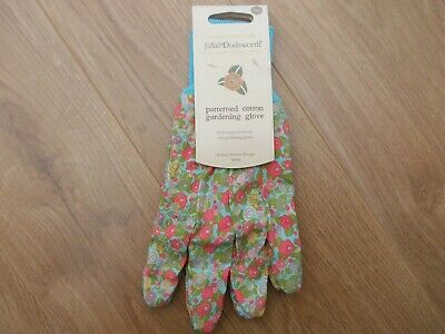 Julie Dodsworth By Briers Ladies Floral Pattern Cotton Grip Garden Gloves