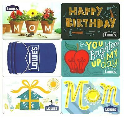 Lot Of 6 Lowes Gift Cards No Value Collectible Birthday Mom Apple Flowers