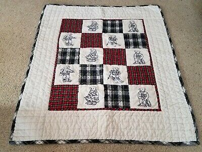 Ralph Lauren embroidered teddy bears plaid Red Green blue crib baby quilt