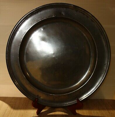 """An antique pewter 16.62"""" dia. dish/ charger by Leonard Terry of York c 1730"""