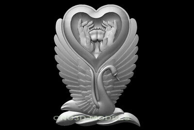 3D Model STL for CNC Router Engraver Carving Artcam Aspire Love Heart Swan f925