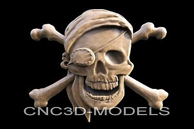 3D Model STL for CNC Router Engraver Carving Artcam Aspire Pirate Skull n147