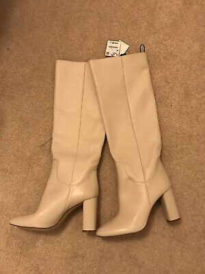835091126a4 Ladies Zara High Heel Leather Boots In Cream Size UK 7 Euro 40 RRP £119.00