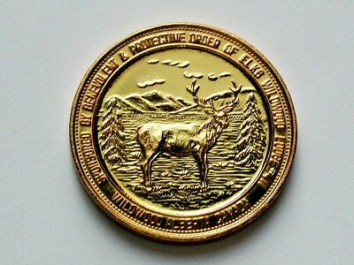 Wildwood AB CANADA 1992 Gold-Plated Trade $2 DOLLAR Token with Elk Animal & Kids