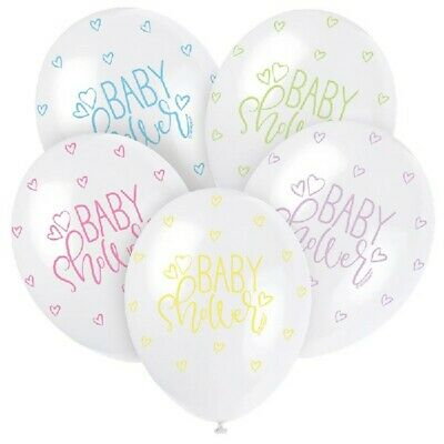 "5 x White Pastel Baby Shower 12"" Latex Balloons Helium Party Decoration Supplies"