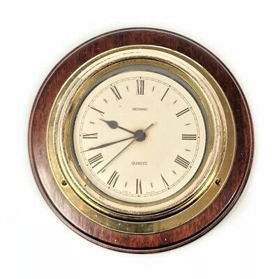 Vintage small brown wooden round wall clock Metamec England Nautical