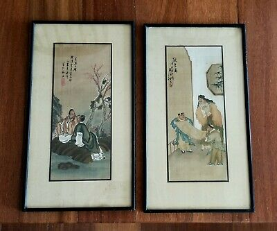 Two Antique or Vintage Chinese Paintings on Silk - Both Artist Signed