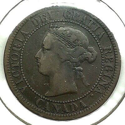 1876 Canada One (1) Cent - Queen Victoria Coin - 143 YEARS OLD! (CC2657)