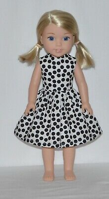 White Black Polka Dot Doll Dress Clothes Fits American Girl Wellie Wisher Dolls