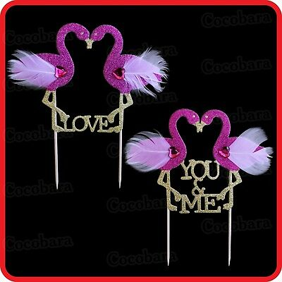 Flamingo Love You & Me Cake Topper-Bling Glitter-Wedding-Engagement-Party