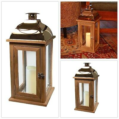 BROWN LANTERN COPPER ROOF LED Candle 7.5 x 17 in. Wooden Flameless Flickering