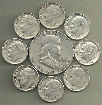 Franklin Half Dollar & Roosevelt Dimes - 90% Silver - US Coin Lot-9 Coins  #3881