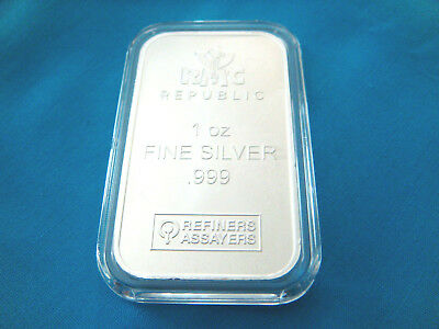 1 oz.Republic Metals Corp-RMC- SILVER BAR .999 FINE-SILVER -Ag-NEW!