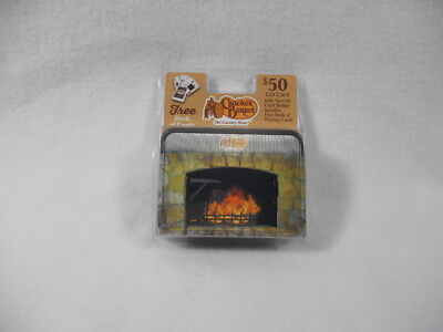 NIP Cracker Barrel Sealed Deck of Playing Cards with Fireplace Holograph Tin